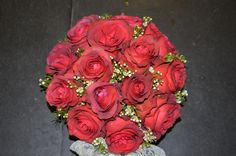 Table centerpiece,made in red cartboard box,with white wax flower and burgundy roses,designed by Adrian Ionita
