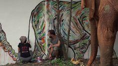 Elephants Wall Painting by Matt Shapira