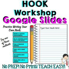 Hooks and Leads Digital WORKSHOP!This HOOK workshop guides students through the process of writing a hook. Great for self-pacing because students can work right on the SLIDES. Also great for class lesson because slides can be projected onto the board. NO Argumentative Writing, Informational Writing, Essay Writing, Writing Resources, Teacher Resources, Teaching Ideas, Introductory Paragraph, Informative Essay, Middle School Writing