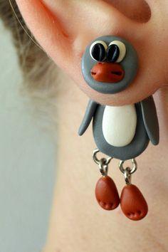 grey penguin dangling earrings,animal front back earrings,double sided posts,fake gauge,fake plug,halloween,Unique faux gauge,unusual tunnel