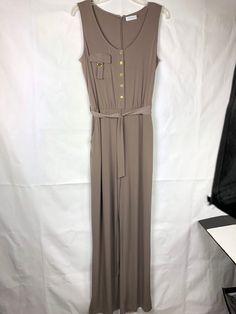 1df2c1dc297c Calvin Klein Women s Jumpsuit size 8 Beige Nude Oat Sleeveless Button Up  Belt 81  CalvinKlein