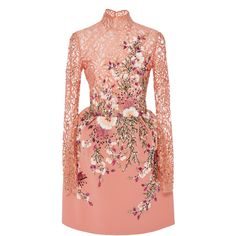 Georges Hobeika     Embroidered Lace Long Sleeve Mini Dress (€5.885) ❤ liked on Polyvore featuring dresses, pink, long sleeve lace dress, long-sleeve mini dress, long sleeve short dress, pink dress and short lace dress
