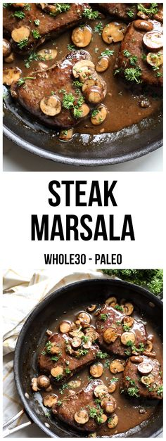 This Steak Marsala is compliant and a great and easy way to cook steak on a weeknight! This Steak Marsala is compliant and a great and easy way to cook steak on a weeknight! Steak Recipes, Paleo Recipes, Real Food Recipes, Cooking Recipes, Cooking Games, Kabob Recipes, Easy Recipes, Paleo Whole 30, Whole 30 Recipes