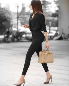 Merve Aydogdu + classic style + predominantly black spring outfit + V neck top + high waisted jeans + pair of faux snakeskin heels. Brands not specified. What To Wear For Spring: The Best Spring Outfits This Season - Just The Design Komplette Outfits, Casual Work Outfits, Classy Outfits, Spring Outfits, Trendy Outfits, Fashion Outfits, Spring Wear, Office Outfits Women, Business Casual Outfits For Women