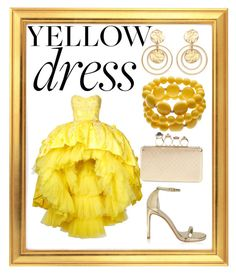 """""""yellow dress"""" by renataoczak on Polyvore featuring Mikael D, Stuart Weitzman, Kenneth Jay Lane and Alexander McQueen Kenneth Jay Lane, Yellow Dress, Stuart Weitzman, Alexander Mcqueen, Disney Princess, Polyvore, Dresses, Vestidos, Yellow Gown"""