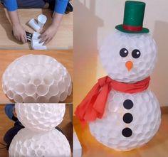 publicidade publicidade Construa um grande boneco de neve usando copinhos descartáveis. Confira o passo a passo da criação de Victor Vic assitindo ao vídeo aqui. Você vai precisar 200 copos ...Ler mais