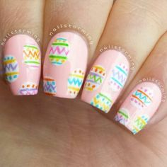 Easter egg pink spring nails