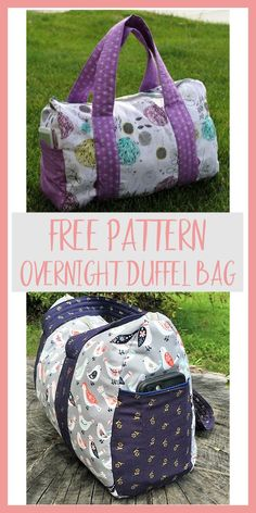 This free pattern makes an overnight duffel bag approximately 12 inches by 15 inches – perfect for an overnight or quick weekend getaway.