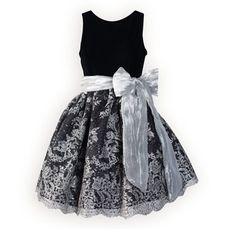 Luxurious black velvet bodice of acetate/rayon has modest round neckline that dips to a slight V in back. Full black poly satin skirt has exquisite sh Girls Holiday Dresses, Girls Special Occasion Dresses, Dresses For Tweens, Girls Party Dress, Holiday Outfits, Girls Dresses, Long Dresses, Little Girl Fashion, Toddler Fashion