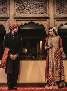 In Pakistan, brides wear  richly embroidered lehengas and a matching long scarf, or dupatta.