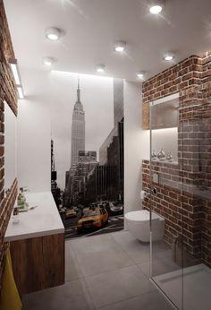 papier peint salle de bain à motif gratte-ciel, carrelage sol gris taupe et…