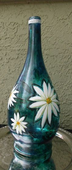 White Flowers painted on a recycled wine bottle by artsyleenies, $30.00