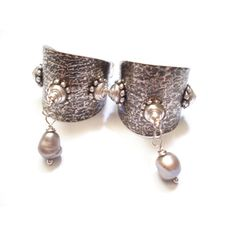 Handmade Silver and Pearls Earrings, Unique Hoop Earrings, Antique... (€36) ❤ liked on Polyvore featuring jewelry and earrings