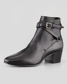 Crisscross Leather Ankle Boot, Black by Saint Laurent at Neiman Marcus.