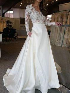 V Neck Long Sleeve Lace Applique Satin A Line Elegant Bridal Gowns Plus Size Custom made