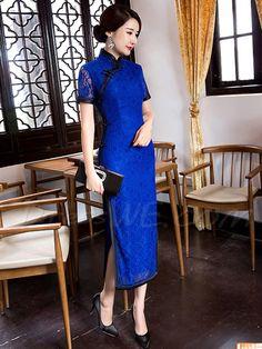Dresswe.comサプライ品繊細な半袖プラスサイズ レース シース側分割オリエンタル チャイナ ドレス チャイナドレス (3)