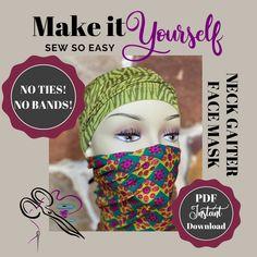 masks diy sewing no elastic Easy Face Masks, Diy Face Mask, Sewing Patterns Free, Sewing Tutorials, Hat Patterns, Sewing Projects, Pattern Sewing, Free Pattern, Sewing Tips