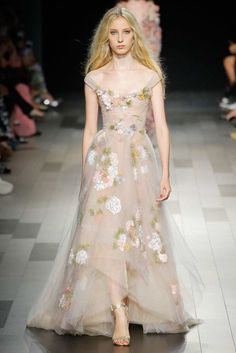 Marchesa Spring 2018 RTW: Another gorgeous floral off shoulder gown! I love the ethereal look!