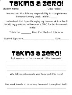 a Zero: Reinforcing student responsibility and giving them ownership in the process of improving their work habits.Taking a Zero: Reinforcing student responsibility and giving them ownership in the process of improving their work habits. Classroom Behavior, Math Classroom, Classroom Organization, Classroom Management, Classroom Ideas, Behavior Management, Classroom Consequences, Management Tips, Middle School Classroom