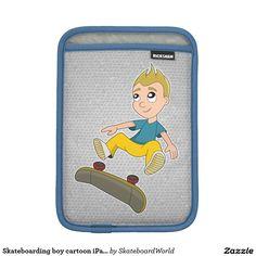 Skateboarding boy cartoon iPad sleeve