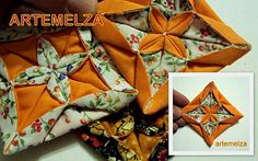 Fabric Origami. Couldn't get it to pin from original site. Good pictures Here is the link: http://melzamelo.blogspot.co.nz/2010/09/dobradura-flor-estrela-de-4-pontas.html