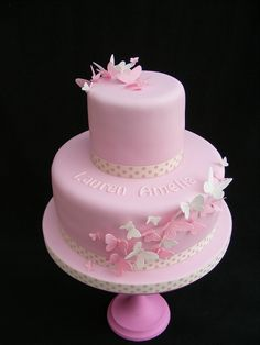 Christening Cakes - Wedding Cakes By Karen  Butterfly Cake