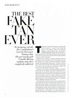 Fantasy Tan in the News - Creators of Spray Tanning. Request info for your salon today! Magazine Layout Design, Book Design Layout, Print Layout, Magazine Layouts, Design Editorial, Editorial Layout, Good Fake Tan, Typography Magazine, Typography Poster Design
