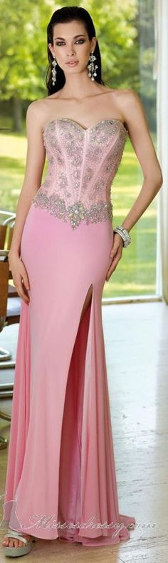 Acgowns style 6104 pink corset bodice with beads accent front side split chiffon skirt pageant / prom dresses Evening Dresses, Prom Dresses, Formal Dresses, Long Dresses, Mode Shop, Estilo Fashion, Designer Gowns, Shirts & Tops, Kauai