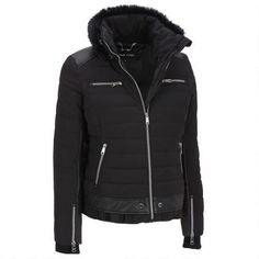 Black Rivet Faux-Fur Collar Ski Jacket