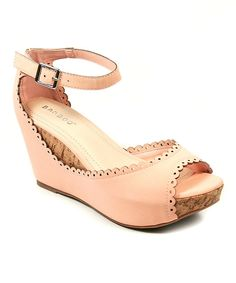 Look at this Peach Ankle-Strap Renata Wedge on #zulily today!