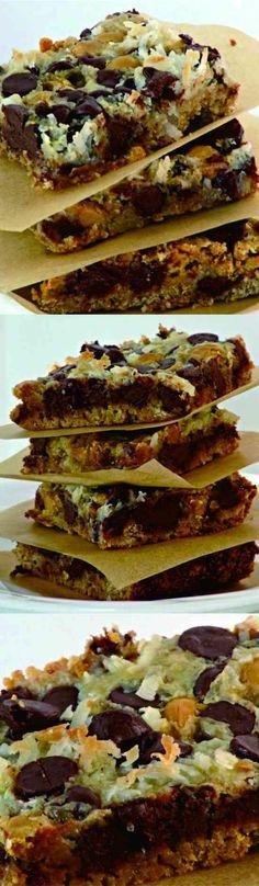Magic Bars, 7 Layer Bars, Hello Dolly Bars - cake, chocolate, coconut, cookie, cracker, dessert, recipes
