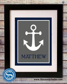 Anchor Nautical Nursery 8x10 Print