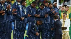 Fiji's rugby sevens olimpic champios  Players bowed, kneeled and clapped.so humble and beautiful!