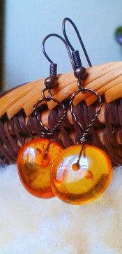 Amber Earrings with bronzed wire by EarthandEther on Etsy, $14.00