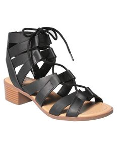 Sole Addiction Women's Stylish Lace Up Gladiator Bootie Low Chunky Block Heel Sandal -- Trust me, this is great! Click the image. : Strappy sandals