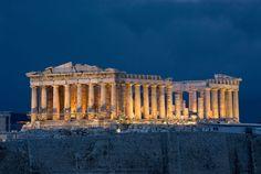 Acrópolis y partenón (Grecia)  El partenón es uno de los principales edificios dóricos que se conservan construido en el siglo V antes de Cristo en la Acrópolis de Atenas.
