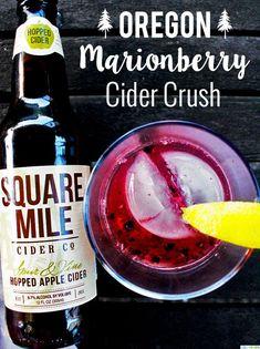 Oregon Marionberry Cider Crush - Marionberries, Hard Cider (hopped if available), Vodka, Lemonade Cider Cocktails, Vodka Drinks, Frozen Drinks, Fruit Drinks, Vodka Lemonade, Beverages, Watermelon Mojito, Marionberry, Raspberry Recipes