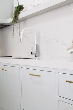 Dorf Vixen in White - Three Birds House 5 Kitchen Modern Kitchen Renovation, Kitchen Modern, Interior Design Kitchen, Interior Decorating, Kitchen On A Budget, Open Plan Kitchen, Kitchen Layout, Beach House Kitchens, Home Kitchens