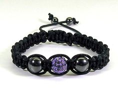 Macrame Bracelet Black w Purple Pave Bead by TheShimmeringPalace, $14.00
