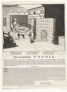 Coenraet Decker | De wonderbaarlijke genezing van Jeske Klaes, 1676, Coenraet Decker, Jan Luyken, Jacobus Robijn, 1677 | De wonderbaarlijke genezing van Jeske Klaes, geschiedt tussen 13-16 oktober 1676 te Amsterdam. De vrouw zit overeind in haar bedstee en dankt de engel, in de vom van een jongen van ca. 10 jaren oud, voor de genezing van haar verlamde benen. In de plaat 3 verzen van 4 regels, daaronder op het blad een beschrijving van het wonder in 2 kolommen.