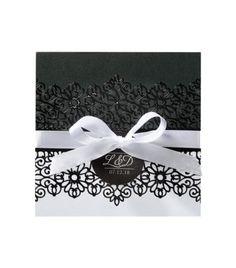 Faire-part de luxe en noir et blanc avec application séparé