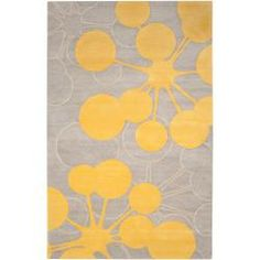 Jef Designs Hand-tufted Grey/Yellow Contemporary Halesowen Wool Abstract Rug (5' x 8')