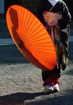 Japan - Geisha silhouette reflected in benigasa traditional umbrella