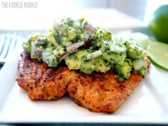WHOLE30 APPROVED grilled salmon with avocado salsa. healthy and delicious...my favorite salmon recipe