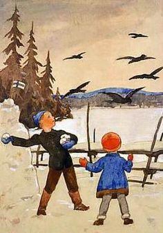 children in art history Photo Postcards, Vintage Postcards, Baumgarten, Winter Images, Vintage Christmas Cards, Christmas Eve, All Nature, Children's Book Illustration, Book Illustrations