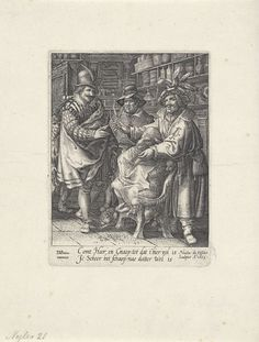 Claes Jansz. Visscher (II)   Schaap in de kapperswinkel, Claes Jansz. Visscher (II), 1605   In een kapperszaak wordt een schaap geknipt door een kapper. Het schaap heeft een kapmantel om, de kapper houdt zijn schaar omhoog en spreekt tot een elegant geklede heer en een jongeman. In het midden kijkt een man met slappe hoed toe. Tegen de wand een kast met flacons, scheerkwasten en andere kappersbenodigheden.