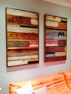 Reclaimed wood wall art wall hanging birds on