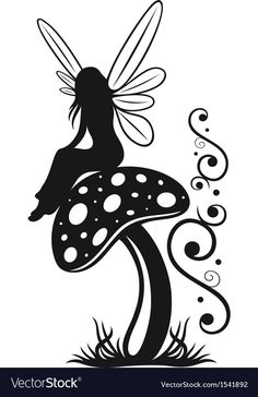 Fairy mushroom autumn vector image on VectorStock Silhouette Design, Vogel Silhouette, Fairy Silhouette, Silhouette Clip Art, Black Silhouette, Fairy Stencil, Rose Stencil, Fairy Templates, Fairy Drawings