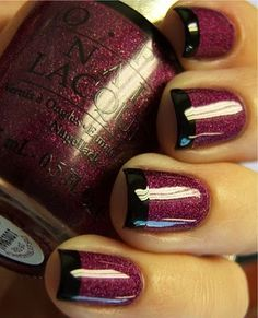 Purple Glitter with Black Glossy Tips