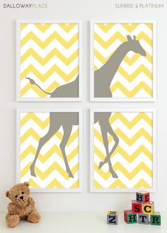 CUTE!!  Modern Nursery Art Chevron Giraffe Nursery Print, Safari Animal Kids Wall Art for Children Room Playroom, Baby Nursery Decor - Four 11x14. $60.00, via Etsy.